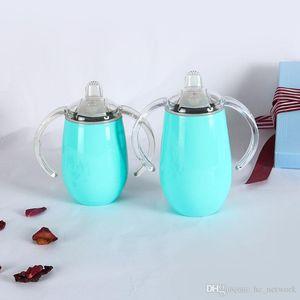 Paslanmaz Çelik Sippy Bardaklar 14 oz Çift Kol ve Kapak Şarap Camlar Ücretsiz nakliye ile tumblers Yumurta Shape Cups Kolları