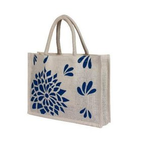 heavy duty well quality jute bag with flower print,flower printed dye jute bag,multicolor jute bags