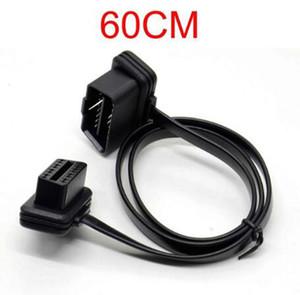 60 cm de coches OBD2 OBDII OBD 16Pin ELM327 macho a hembra cable de extensión del codo conector de diagnóstico del escáner