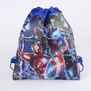 Cartone animato The Avengers Drawstring Borse Zaini non tessuti Sacchetti di immagazzinaggio Scuola per bambini Ragazzo regalo di compleanno Spedizione gratuita