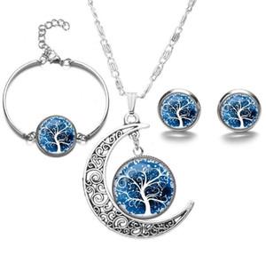 Tempo gemma colorato albero della vita bracciale e orecchini collana set Luna argento ciondolo donna gioielli set charms regalo amicizia del partito