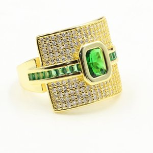 Rulalei Deluxe Jewelry 925 Sterling Silver&Gold Fill Princess Cut Green 5A Cubic Zirconia Eternity Women Wedding Pave CZ Ring