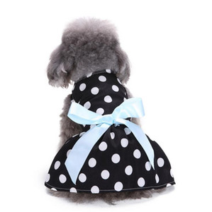 2019 Cute Polka Dot Ribbon Sweety Princess Dress Dress Dress Vestiti Teddy Puppy Dog Shirt Pet Abiti da sposa Sundress per Small Dog Skirt