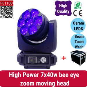 4 플라이 케이스 / 로트 7x40w orsam led moving head, rgbw 4 in 1 led zoom moving head