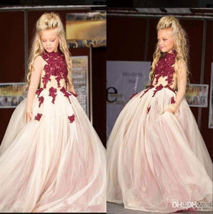 Elegant High Neck Lace Flower Girl's Dresses 2019 Tulle Applique Beaded Sweep Train Princess Girl's Pageant Dresses BC1574