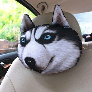 Husky coche divertido del perro del gato del cuello del asiento de la almohadilla apoyo para la cabeza sofá de la silla Cojín Animal regalo de dibujos animados Toy interior del coche Almohada Almohada Mat