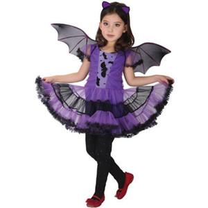 Arloneet Kleinkind Mädchen Kleid Kinder Baby Mädchen Halloween Kleidung Kostüm Kleid + Haarband + Fledermaus Flügel Outfit L0811 J190514