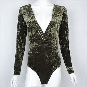 Kadife Seksi Bodysuit Kadınlar V Yaka Kazak Kayma Kadife tulum Tişörtlü Yeşil Örme Jumpsuit feminino vestido Romper roupas monos