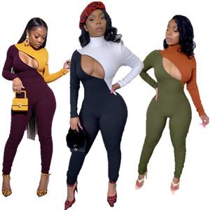 Mulheres sensuais zipper jumpsuitrompers manga longa com painéis calças skinny outono-inverno roupas casuais playsuit clubwear macacão vendendo 2126