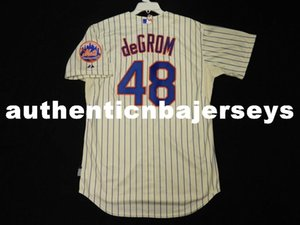 Barato Majestic NEW YORK # 48 JACOB DEGROM LEGAL BASE Jersey Mens Costurado Atacado Grande E Alto TAMANHO XS-6XL camisas de beisebol