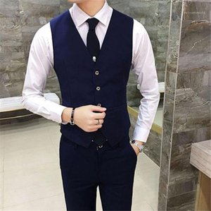 Fashion Solid Color Mens Outerwear Male Clothing Mens Business Suit Slim Vest Sleeveless