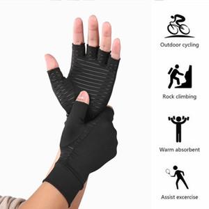 Outdoor Ciclismo mezzi della barretta Guanti Sport Fitness Compressione Artrite Black Gloves