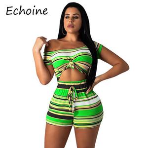 Echoine bunt gestreiften zweiteiligen Satz hohe Elastizität bauchfreies Oberteil und Hosen Trainingsanzug kurze Sätze für Frauen
