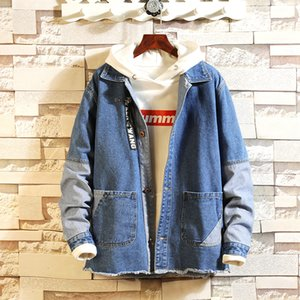 broken old splice Classic jacket Denim jeans jackets coats Spring Leisure loose Vintage Style Men Casual Clothing 2020 NEW