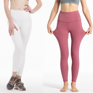 Solid Color Women yoga pants High Waist Sports Gym Wear Leggings Elastic Fitness Lady Overall Full Tights Workout XS-XL