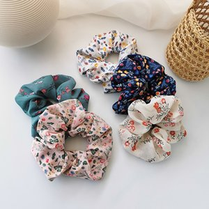 Cloth Fabric Floral Scrunchies Elastic Hair Bands 2020 New Women Girls Hair Accessories Ponytail Holder Hair Ties Rope