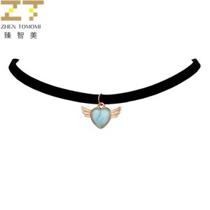 Hot Fashion Maxi Torques Black Velvet Leather Wings Heart Pendants False Collar Chokers Necklace Women Jewelry 2019 Girl Gift