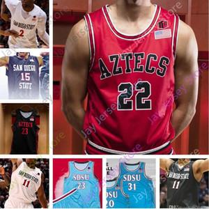 2020 personnalisé San Diego State Basketball Jersey College Leonard Malachie Flynn Matt Mitchell Schakel Wetzell Feagin Mensah Seiko