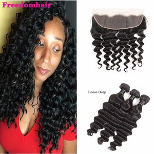 9A Brazilian Virgin Hair 3 Bundles with 13*4 Lace Frontal Loose Deep Human Hair Extensions Top Remy Hair Wefts with Frontal Closure