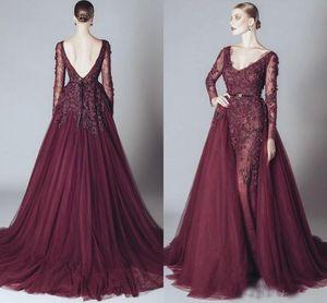 Eleganter Burgunder-Berühmtheits-Abend-Kleider Backless V-Ausschnitt, lange Ärmel 2018 Elie Saab Kleid arabische Partei-Kleider Günstige Abendkleid