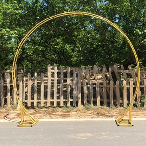 Décoration de fond de mariage en fer forgé anneau rond arc cadre scène Accessoires Parti ronde avec cadre de stand décoration fleur fleur