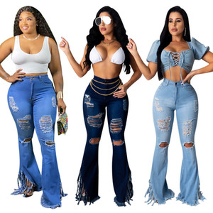 INS Hottest 2020 Summer Women's Ripped Jeans With Light Washed High Wasit And Tassels Bodycon Flared Trousers Fitness Nightclub