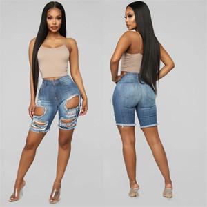 Calças buraco rasgado Designer Womens Jean cintura alta joelho lavado Comprimento Magro Azul Denim Shorts verão OL Style Ladies