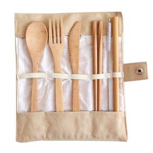 Набор столовых приборов бамбука ложка нож вилка многоразовые здоровый путешествия одноразовые экологически чистые 100% биоразлагаемые с футляром