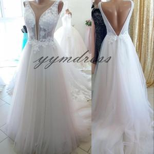 2019 New Beach Wedding Dresses Lace Appliques A line Sheer Neckline Open Back Bridal Gown vestido de novia