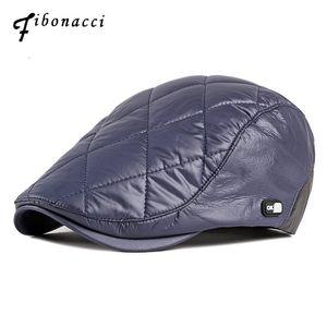 Fibonacci 2019 nuevo estilo a prueba de viento de la tela del vendedor de periódicos Cap calidad de la marca mujeres de los hombres de la boina de terciopelo grueso Plus flatcap otoño sombrero de invierno