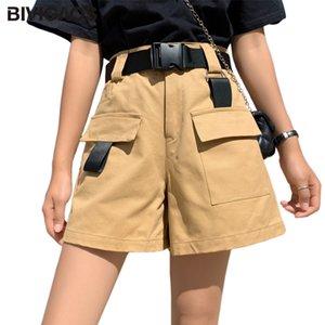 BIVIGAOS Verão Novo Cinto de carga Shorts fita do bolso Cotton curto Mulheres Harajuku Shorts cintura alta Casual Hetero perna larga soltos