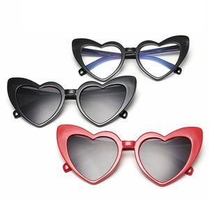 Мода Женщины Сердце солнцезащитные очки ретро Cat Eye Hip Hop Full Frame очки Cute Love Shape Lady Travel Beach Оправы TTA1174-14