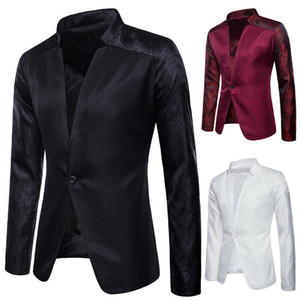 Neue Mens Blazer beiläufige dünne Sitz-Knopf-Smoking-formale Klage-Mantel-Jacke Top formale Blazer Geschäfts Partei Blazer einzigen Knopf