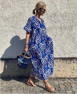 2020 summer new ladies dress positioning chic printed V-neck short-sleeved dress