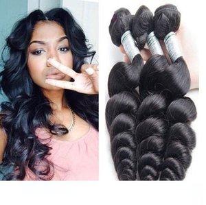 9A Mink brasiliano onda allentata brasiliano non trattato peruviani del Virgin capelli umani Weave Bundles allentato Curly Style