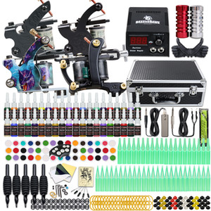 Tattoo Kit 4 Top Machine Gun 40 Color Ink Power Supply Disposable Needle Tips Complete D120GD-18