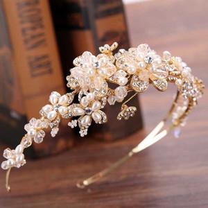 Vintage Altın Pearl Rhinestone Yaprak Gelin Tiaras Kafa Hairband Gelin Saç Takı Kafa Piece Düğün Taç Aksesuarlar SL CJ191226