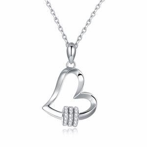 Adorável Projetado Colares S925 Sterling Silver Heart Pattern Mosaico Zircon Forever Amor Pingente Acessórios Colar Surpresa Presente POTALA039