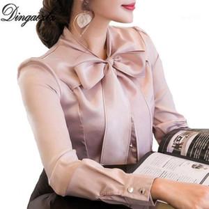 Dingaozlz Новый 2018 лук шить шифоновая блузка элегантный женский с длинным рукавом шифоновая рубашка мода csaual одежда для женщин tops1