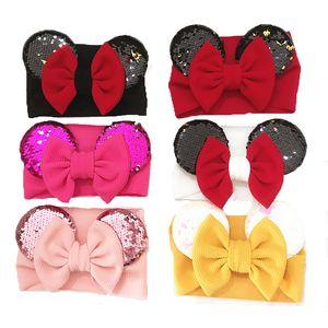 아기 소녀 스팽글 활 디자이너 머리띠 나일론 터 번 유아 탄성 마우스 귀 Hairbands 어린이 모자를 쓰고 있죠 아이 헤어 액세서리 C6918