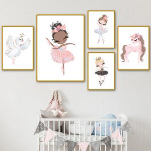 Modern Home Décor toile Swan Image Danseur de ballet Cheval Peinture Style nordique mur Art Hd Prints modulaire Affiche pour Chambre