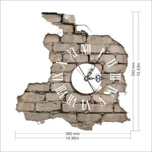 3D Saat Duvar İçin Salon Kendinden yapışkanlı PVC Çıkartması Fantezi Duvar İzle Asma Duvar Saati Çıkartma Gözküresi Romen rakamını Broken