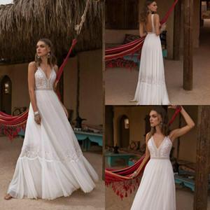 2020 Plage Asaf Dadush Robe de mariée col en V cristal dentelle Robes de mariée Backless romantique Pays Boho robe de mariée sur mesure