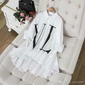 Noir / Blanc Batwing manches longues femmes S Chemises Lettre Imprimer Blouses et chemises pour femmes en mousseline de soie-24 Yy plus la taille des robes Sized