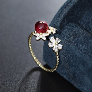 DAIMI Ruby Ring 925 Sterling Silver Gemstones Faceted Open Ring Fashion Jewelry Jewelry Gift Female