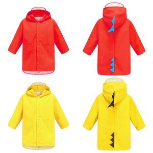 Portable Garçons Filles coupe-vent imperméable Wearable Poncho enfants Dinosaur mignon en forme de capuchon enfants jaune rouge Imperméables DH0752 T03