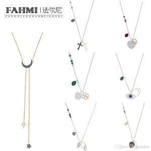 Fahmi Duo Evil Eye Angel Wings Vier-Blatt Klee-Kreuz Frauen-Rose Gold Claviclekette Mode Flashing Stern-Mond-Anhänger-Halskette