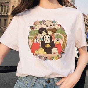 90S Harajuku Totoro Spirited Away Ghibli Femme T Shirt Japanese Women Ulzzang Tshirt Anime Miyazaki Hayao Female T Shirt