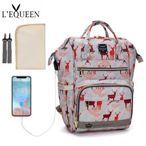 LEQUEEN USB Diaper Bag Baby Mummy Maternity Bag for Stroller Diaper Bagpack Waterproof Nappy Backpack Nursing Bags With Hooks