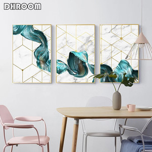 Ondas Wall Art Canvas Prints Nordic Geometric pintura da lona Poster Abstract Imprimir Imagem moderno para Living Room Home Decor